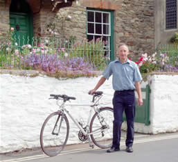 Mike Harrison outside Rose Cottage in Croyde
